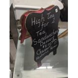 TABLE TOP CHALKBOARD SANDWICH BOARDS - SET OF 3 - BLACK & RED, VALENTINE DECORATIONS - TWO WOODEN