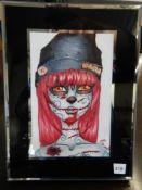"BLACK FRAMED PEN & INK W/WATER COLOR - ""CARRIE"" - 6"" X 8"""