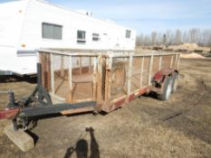 1987 ROAD KING 16 FT T/A CAR/EQUIPMENT TRAILER W/ REMOVABLE MESH STEEL RACKS S/N 2A9TY2134HE015527