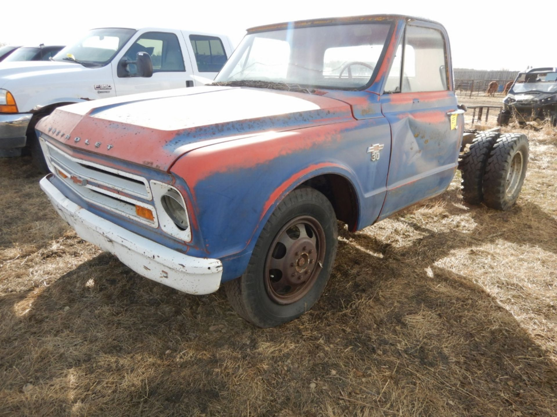1970'S CHEV 30 CAB & CHASSIS - REG CAB, DUALS, NO ENGINE OR TRANSMISSION S/N CE3371125498 - Image 2 of 9