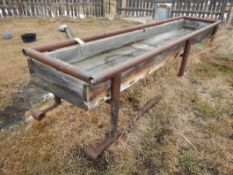 4-PIPE FRAME W/ WOOD FEED TROUGHS 36IN WIDE X 14 FT LONG