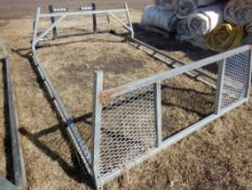 STEEL 8FT HEAD ACHE RACK W/ SIDE RAILS AND REMOVABLE REAR LADDER/LUMBER RACK