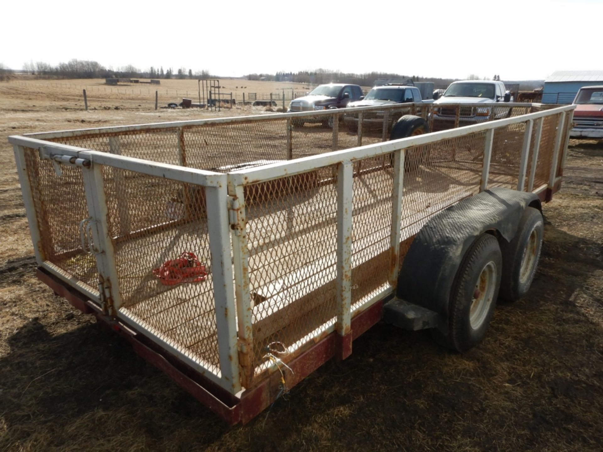 16 FT T/A CAR/EQUIPMENT TRAILER W/REMOVABLE MESH STEEL RACKS NO VIN, NO YEAR, NO MAKE & MODEL - Image 3 of 6