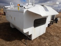 2000 NORTRUCK T-SHED 8FT SERVICE BODY W/ HEATER, INTERIOR BOXES, AND PRIME DESIGN LADDER RACK