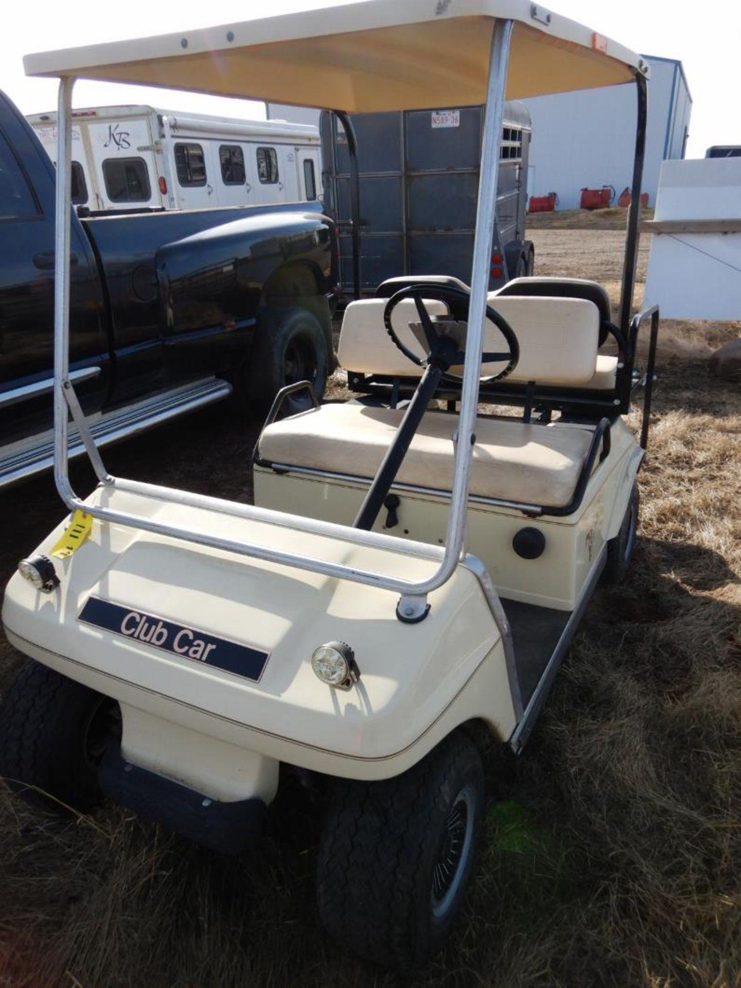 CLUB CAR GAS POWERED GOLF CART S/N AG9132254635 W/NEW BRAKES, BATTERY, REAR SEAT