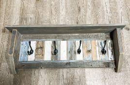 Wood Shelf - Wooden Shelf with hooks - Carol Penner