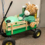 "Kids Wagon full of Goodies - John Deere wagon, John Deere T-Shirt, 40"" Cow Stuffy, 1 Large Ball, 2"