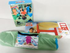 Pup tent and yard games - Small Tent, Frisbee Game and Yard Dart Game - Freson Bros, High Prairie