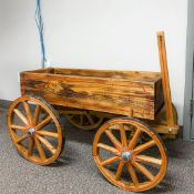 """Decorative Wagon, Wooden - Approx 3.5""""x1.5"""" (box size) waterbottle shown for size comparison, not"""