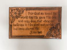 """Leather Engraving - John 3:16, approx 14""""x9"""", handmade - Vern Rempel"""