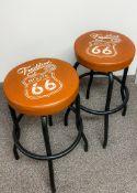 Route 66 Bar Stools (x2) - Upholstered bar stool, metal legs - Napa - High Prairie