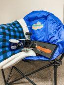 Camping Bundle - Outdoor/Camping Chair, Sherpa Blanket, Lantern, 2 enamal mugs, x2 fishing hooks,