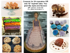 """Baking - Coupon for 24 cupcakes OR one 12"""" layered cake. You pick the style and flavours. Gluten"""