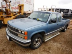 1988 GMC SCOTTSDALE GMT400 EXTENDED CAB PICKUP W/LONG BOX, AT, V8, 189290 KM SHOWING, S/N