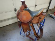 1-WADE 17IN A-FORK STOCK SADDLE W/ WOOD/DBL FIBREGLASS WRAPPED TREE MADE BY GRAND SADDLERY NO. 4801