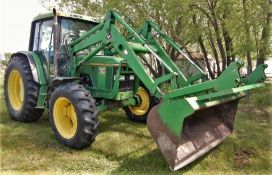 JOHN DEERE 6400 FWA TRACTOR W/FEL, GRAPPLE (GRAPPLE NOT ATTACHED - NO RAM) & 3PT HITCH, 7486 HOURS