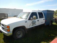 1998 CHEV 3500 CREW CAB 2X4 TRUCK W/MECHANICS SERVICE BODY S/N 1GCGC33R2WF035582 231771 KM SHOWING