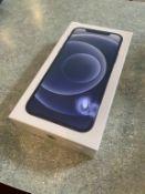 iPHONE 12 128GB BLACK, UNLOCKED, S/N G6TF61A50F06, (NEW IN BOX)