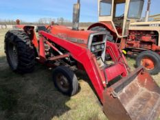 MF255 DIESEL TRACTOR, W/ MF235, FRONT END LOADER, 3PT, 18.4X30 RUBBER, TIRE CHAINS, S/N 9A302235,