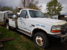 1995 FORD F350 XLT TOW TRUCKW/CENTURY 411 TOWING DECK, DOLLIES W/5 SPD MANUAL-OD TRANS, V8 GAS,