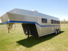 2003 ROCKIES CONVERSIONS SS 4-HORSE RH ANGLE HAUL TRAILER W/LIVING QUARTERS, A/C, INTEGRATED GEN SET