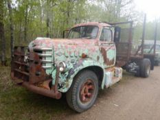 1958 DIAMOND T 630 S/A CAB & CHASSIS W/DUAL WHEELS, 406 RED DIAMOND ENG., 5X3 TRANS, AIR BRAKES,