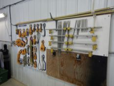CAR-O-LINER PULLING & HOLD DOWN TOOL BOARD, ALIGN MEASURING GAUGE TOOL BOARD, PULL CLAMPS GAUGES INC