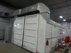 DEVILBISS 14 FT X 28 FT CROSS DRAFT AUTOMOTIVE DRIVE-THRU PAINT SPRAY BOOTH W/ENG. AIR HE100-HMC0DC