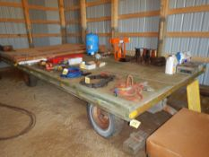 FARM WAGON W/STEEL CHASSIS, RUBBER TIRES, 8 FT X16 FT - CONTENTS NOT INCLUDED