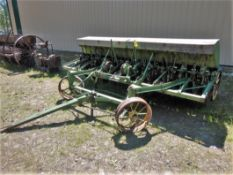 VINTAGE JOHN DEERE VAN BRUNT 12 FT SEED DRILL W/GRASS ATTACH. (SAID TO BE IN WORKING CONDITION)
