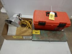 """19"""" POLY TOOL BAX W/MISC TOOLS, CLAMP ON LAMP, PR. LEATHER WELDERS MITTS, METAL TOOL BOX W/MISC HAND"""