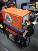 ARC WELD AC WELDING MACHINE W/ CABLES, ASSORTED ELECTRODES, MASK, CHIPPING AXE, ON WHEELED CART
