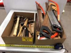 L/O ASSORTED HAND SAWS, SWEDE SAWS, BALL PEEN AND CLAW HAMMERS
