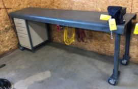 STEEL WELDING TABLE 24IN X 96IN W/ 6IN BENCH VISE, POWER AND AIR OUTLETS, HOSES, POWER CORDS