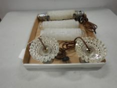 2-VINTAGE GLASS NIGHT TABLE LIGHTS, MATCHING LIGHT FOR HEADBOARD