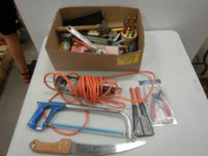 L/O ASSORTED HAND TOOLS, HACK SAW, TROUBLE LIGHT, HAMMERS, ETC.