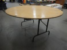 6-WOODEN FOLDING TABLE 60IN DIA. - VARIOUS TABLE CONDITION