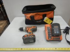 RIDGID 18V CORDLESS DRILL W/ BATTERIES AND CHARGER