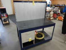 MOBILE WORK TABLE 24IN X 48IN W/ PEG BOARD, POWER CORD, PLUG IN, 2-DRAWERS