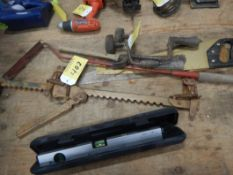 L/O ASSORTED HAND TOOLS, SAWS, POWER FIST LASER LEVEL, RASP, ETC.
