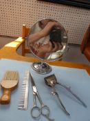 HAIR CLIPPERS, COMB SCISSORS BRUSH & MIRROR