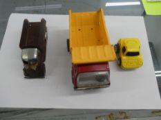 VINTAGE METAL DUMP TRUCK (AS FOUND), TONKA CAR & MARX DUMP TRUCK