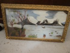 """ANTIQUE ORIENTAL PAINTING (REVERSE PAINTED ON THE GLASS) 27""""X15"""""""