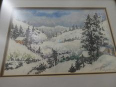 """CHINESE WOOD CUT WATER COLOR PAINTING 13""""X10"""", HOFEUER HUTTE SKETCH 14""""X12"""""""