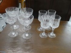 2 SETS OF 4 CRYSTAL WINE GLASSES