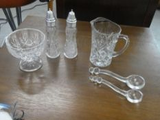 CRYSTAL SALT & PEPPER, CRYSTAL FOOTED DISH, CRYSTAL WATER PITCHER & 2 CRYSTAL CONDIMENT SPOONS