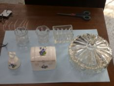 BELL & TRICKET BOX KEANALL FINE BONE CHINA, 2 CANDLE HOLDERS, SUGAR PACKET HOLDER & COVERED DISH 6.