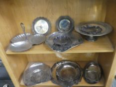 2 SHELVES OF SILVERPLATE