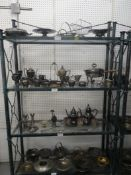 """WROUGHT IRON & GLASS DISPLAY SHELVING 78""""H 50""""W 19""""D"""