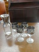 DECANTER & 4 WINE GLASSES SILVER TRIMMED